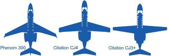 Les ailes du Phenom 300, du CJ4 et du CJ3+
