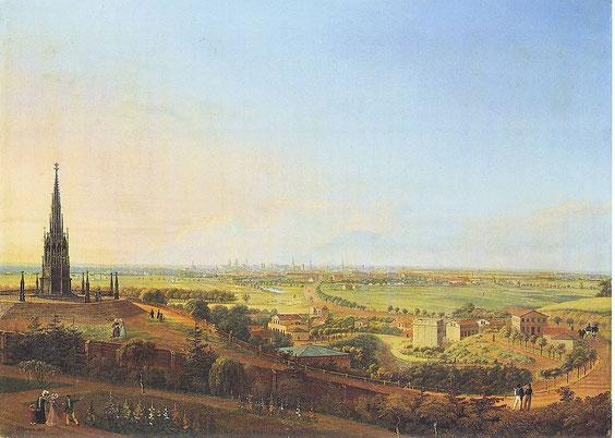 Quelle: Johann Heinrich Hintze [Public domain], via Wikimedia Commons, https://upload.wikimedia.org/wikipedia/commons/5/59/Hintze_Kreuzberg_1829.JPG