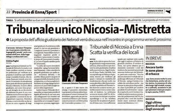 Giornale di Sicilia, martedì 16 luglio '13