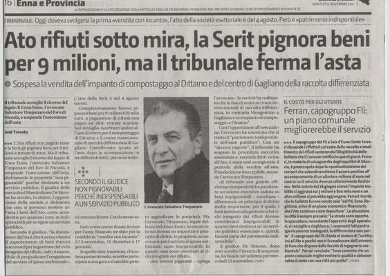 GIORNALE DI SICILIA, martedì 15 novembre 2011