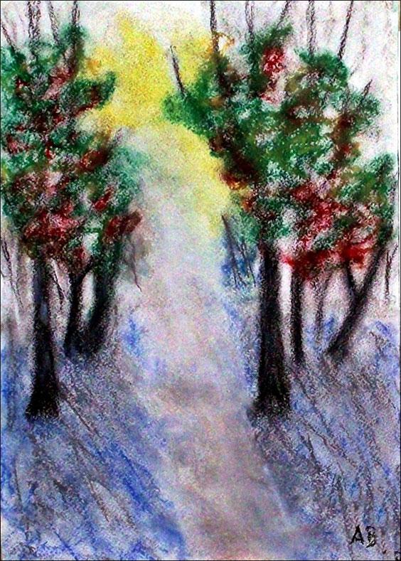 Abendlicht, Pastellgemälde, Herbst, Sonnenuntergang, Allee, Bäume, Weg, Gras, Nebel, Pastellmalerei, Landschaft, Pastellbild