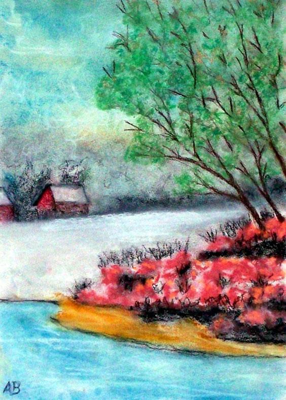 Haus am See, Pastellmalerei, Wald Bäume, Haus, See, Wiese, Blumen, Natur, Landschaftsbild, Pastellgemälde, Pastellbild