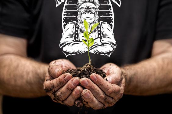 Mann mit Pflanze in Hand