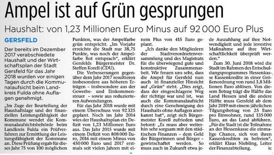 Ampel auf Grün - Ein Bericht über die verbesserte Haushaltslage der Stadt Gersfeld (Fuldaer Zeitung vom 10.07.2018)
