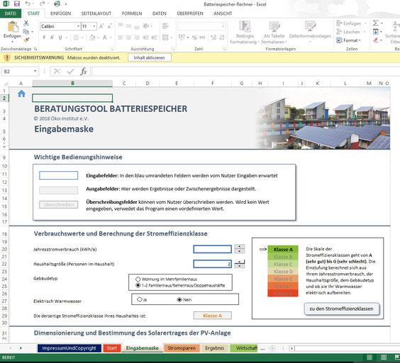 Leben mit der Energiewende TV - EcoTopTen, die Internetplattform des Öko-Instituts Freiburg, hat eine Excel-Tabelle zur Stromspeichern  ins Netz gestellt.