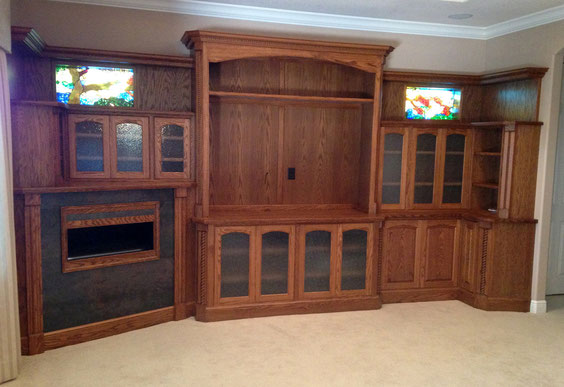Old world Oak wall unit with fireplace