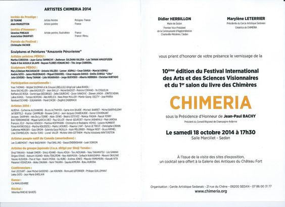 Carton d'invitation à la biennale des arts et sciences visionnaires Chiméria 2014.