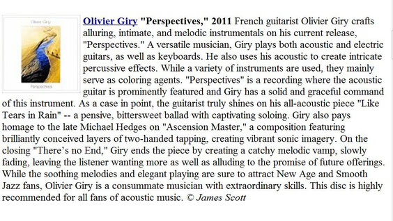 olivier giry fingerstyle guitarist jazz new age picking entre ciel et terre perspectives