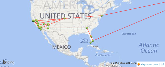 Places I travelled to on my second trip to the USA. Source: travelpod