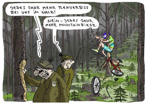 Cartoon von H. Mercker über Rehe und Räder (2020)