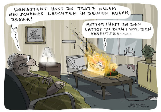 Cartoon von H. Mercker zum Advent 2020.
