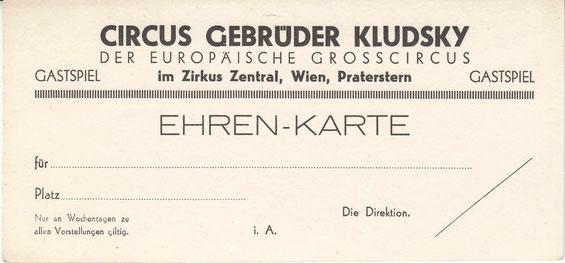 Circus Kludsky - Ehrenkarte 30er Jahre