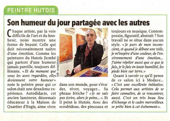 """Exposition """"Domaine du Chateau de Modave 20 & 21 octobre 2012 - Journal """"L'Avenir"""" - 22 octobdre 2012"""