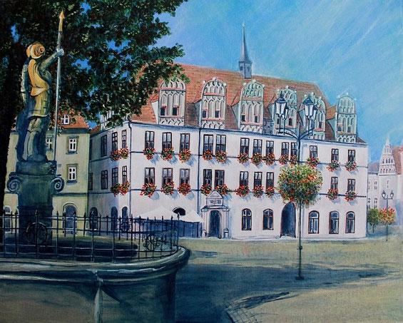 Naumburger Rathaus mit Brunnen und Wenzelfigur