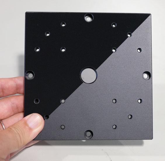 黒アルマイト処理とファインシャットSPの可視光反射の比較