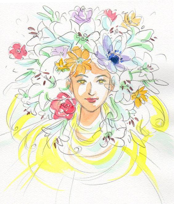霊視結果イラスト:お花に囲まれた美しい守護霊様