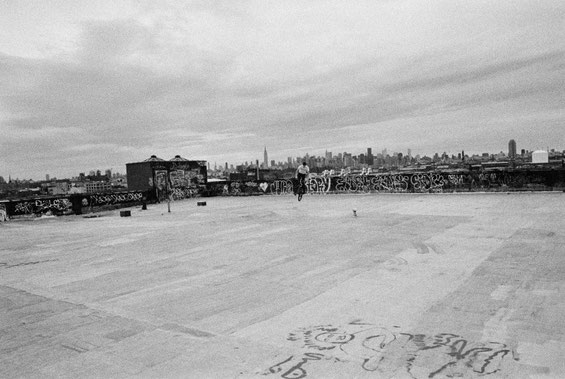 bmx on rooftop 538 Johnson Ave, Brooklyn NY – Minolta 7000 | Kodak P3200 TMAX