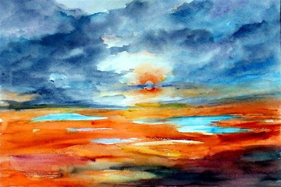 Landschaft-Nach dem regen-Aquarellmalerei