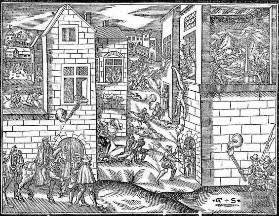 IMA.17.001 Bartholomäusnacht und Ermordung von Coligny (Holzschnitt, 1614) / © Sammlung PRISARD