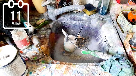 Waschtisch im Atelier Wachsmann