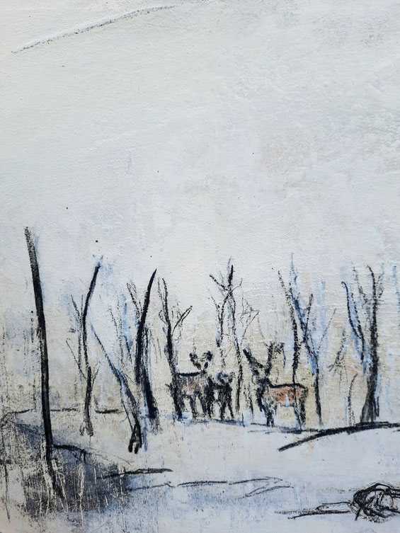 weisses Bild abstrakt winterlandschaft Rehfamilie