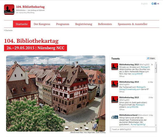 Screenshot der Website des 104. Bibliothekartags in Nürnberg