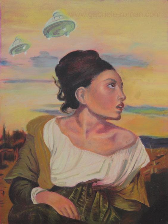 Das Waisenkind auf dem Friedhof ist eine Hommage an Eugène Delacroix. Ich habe mich immer gefragt warum das Mädchen so erstaunt nach rechts sieht.  Am Himmel hinter ihm sind Ufos zu sehen.