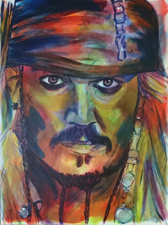 Johnny Depp als Captain Jack Sparrow aus Fluch der Karibik, Acryl auf Leinwand