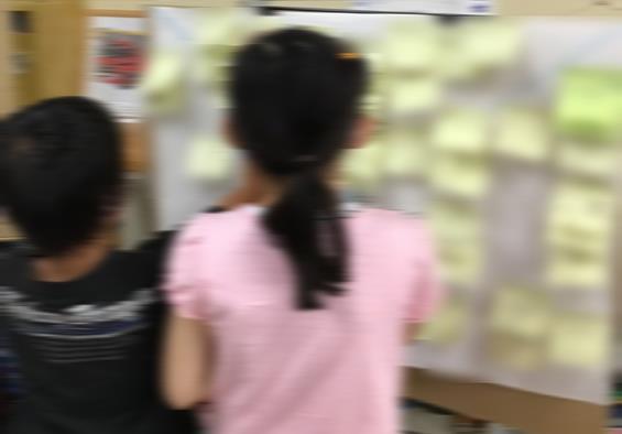自分の家や学校の周りのおすすめの場所について紹介し合う。模造紙などにふせんを貼って交流すると、向かい合うことなく交流することができる。