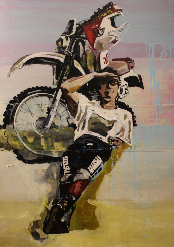 """""""Rückenwind"""" heißt das Gemälde.   Es ist 100 mal 140 cm groß, mit Acryl gemalt und mit Kohle auf Leinwand und Stoff gezeichnet"""