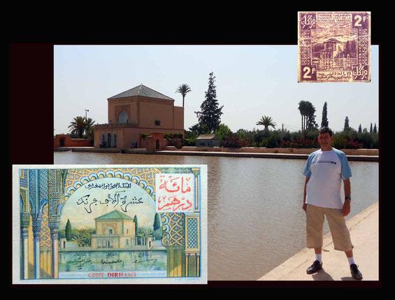 La Menara en Marrakech en el billete de 10.000 francos de Marruecos colonial de 1955