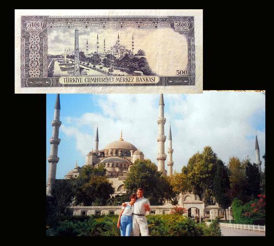 La Mezquita Azul de Estambul en el billete de 500 liras de Turquía de 1953