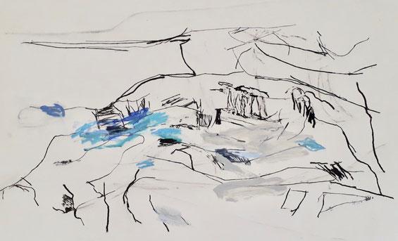 Sound of Ciuffenna  2020  50 x 78 cm  Mt./ Papier - Herta Müller