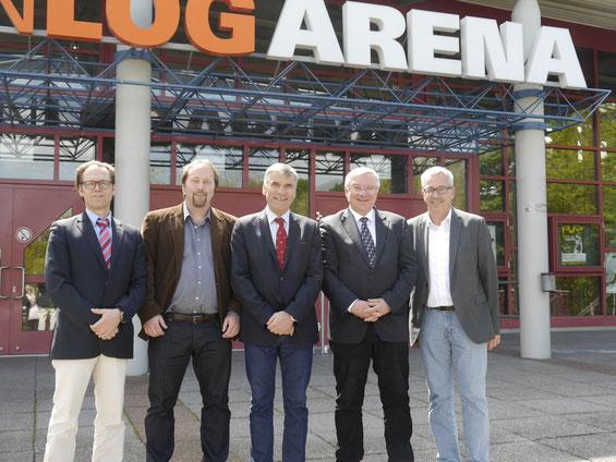 Volker Herb (Geschäftsführer der CONLOG ARENA), Heiko Hampl (Geschäftsführer der Sportsbruder UG), Ulrich Klaus (Präsident des DTB), Prof. Dr. Joachim Hofmann-Göttig (Oberbürgermeister der Stadt Koblenz) und Rüdiger Sonntag (Leiter des Sportamts Koblenz)