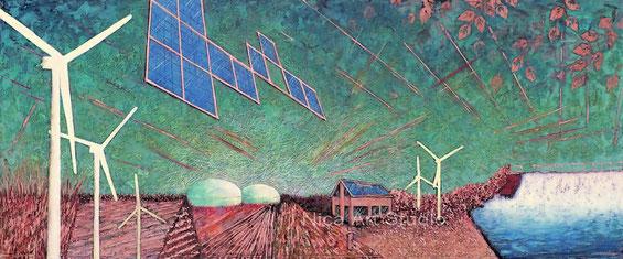 Broadened horizon, 2021, 120 x 50 cm, Mixed Media on copper