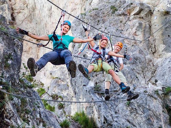 Abhängen am Geierwand-Klettersteig