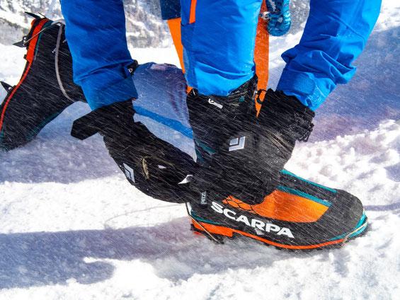 Super ausgestattet mit den Bergstiefeln von Scarpa.