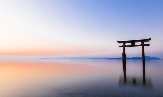 【画像】滋賀県 琵琶湖の朝焼け風景