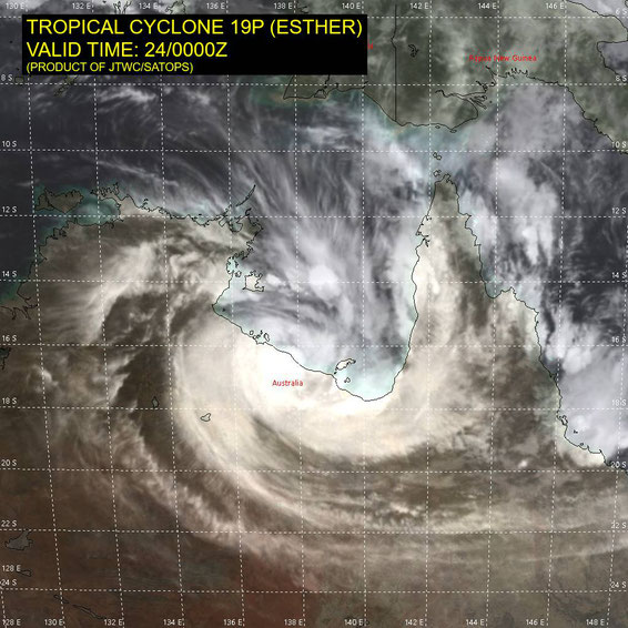 Satellite image of tropical cyclone Esther on the southern coast of the Gulf of Carpentaria, 24/02/2020. Image from JTWC.
