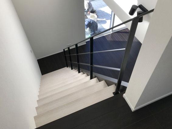 ささらが横にあるスケルトン階段にスチールの手摺