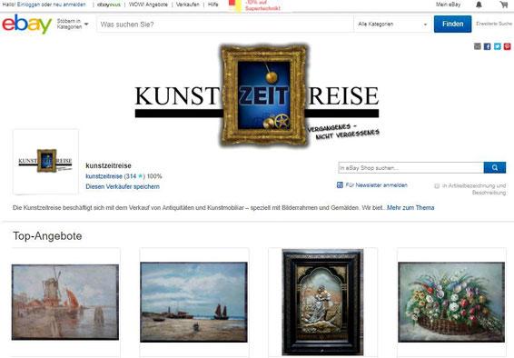 Ausschnitt aus dem ebay shop der kunstzeitreise und dessen angebote - gemälde-bilderrahmen-antike ware