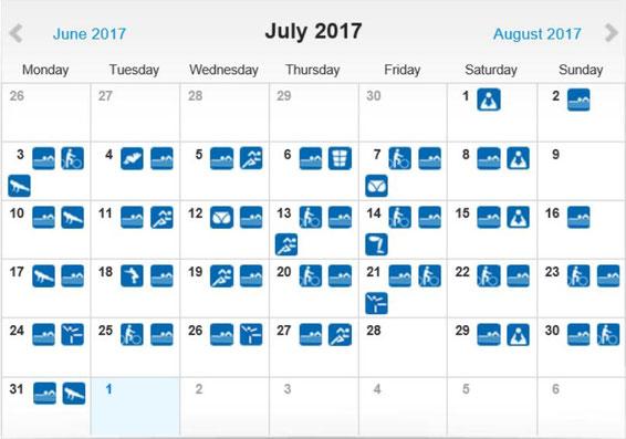 freaky routine, tägliche Übungen, Projekt 100, runtastic, Statistik Juli 2017