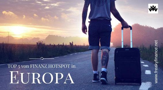 freaky travel, Finanz Hotspot, Gastartikel, TOP 5 Places Europa, Mann mit Koffer auf Straße vor Sonnenuntergang am Horizont