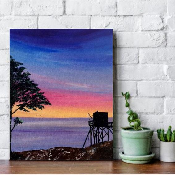 tableau-paysage-ocean-carrelet-coucher-de-soleil-peinture-marine-artiste-peintre-royan-audrey-chal