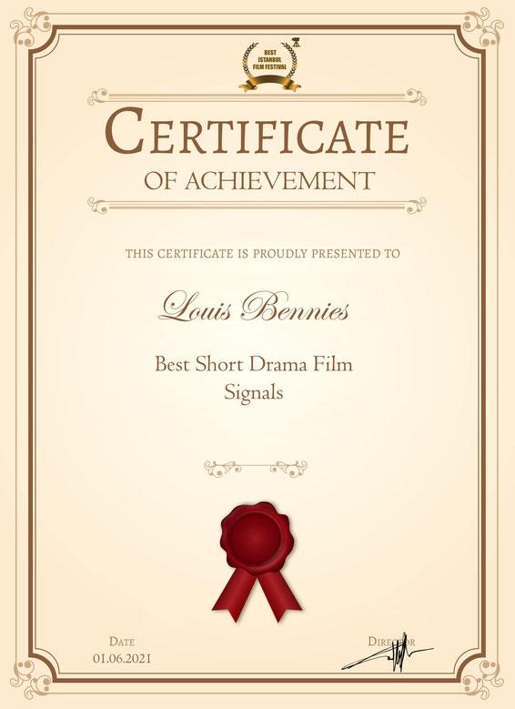 """Ein guter Start ins Filmgeschäft: Eine der Auszeichnungen für den Bennies-Fim """"Signale"""""""