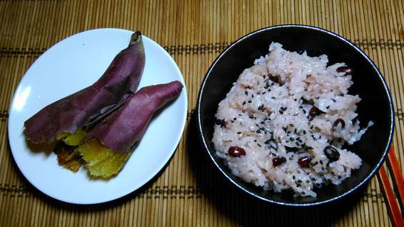 お客様からの頂き物・お赤飯と焼き芋の写真