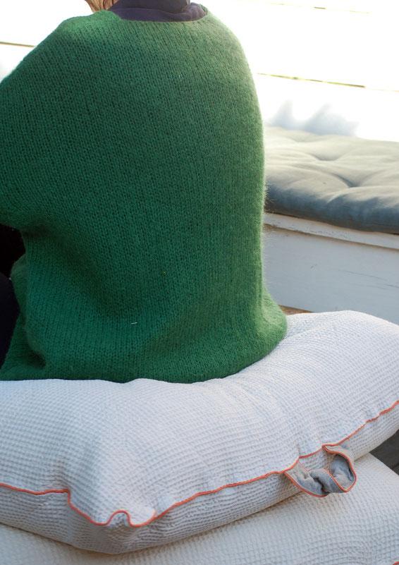 coussin coton bio nid d'abeille