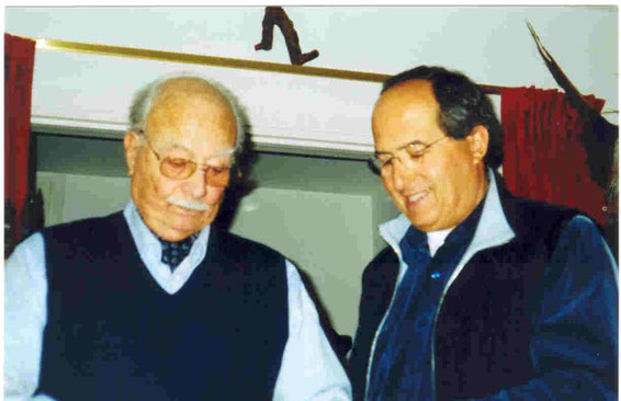 Federico Barbaranelli and his son Fabio studying the rebuilding plans of the gulet FEDERICA