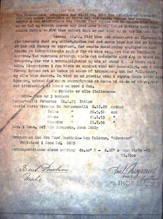 Thor Staerke Captain certificate - 21.10.1972