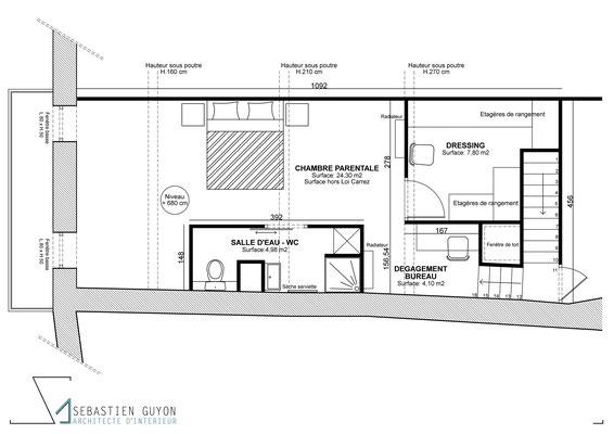 Architecte d'intérieur - Architecte - Projet - Rénovation - Combles - Plan - Travaux - Chabeuil - Valence - Drôme